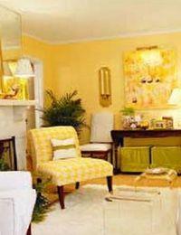 декор интерьера в желтом цвете