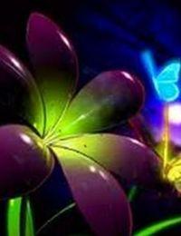 комната с флуоресцентными обоями