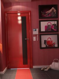 декор коридора в красном