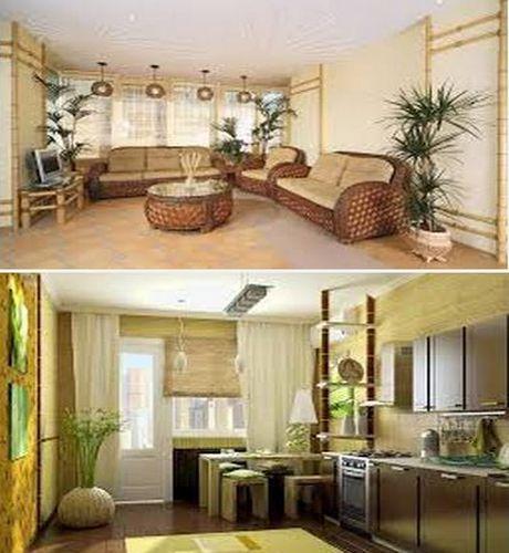 обои из бамбука в декоре интерьера