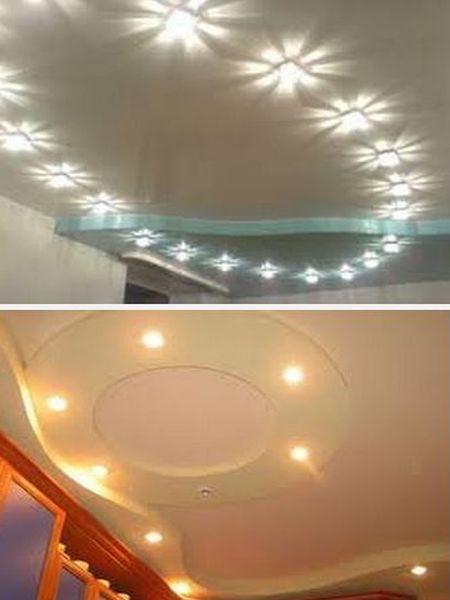 потолок с точечными светильниками в интерьере
