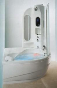 Акриловая ванна с гидромассажем в доме