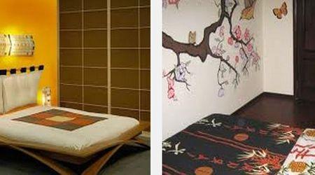декор стен спальни в японском стиле