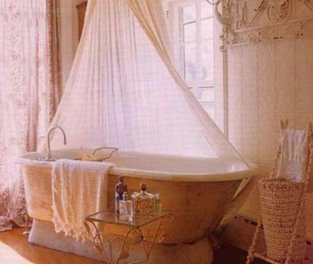 розовый декор ванны шебби шик
