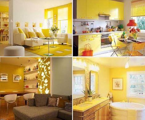 сочетания желтого цвета в интерьере
