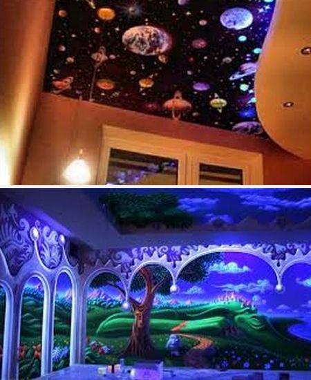 декор комнаты флуоресцентными обоями