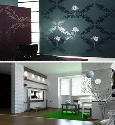 декор квартиры металлизированными обоями