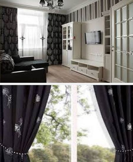 декор квартиры со шторами черного цвета