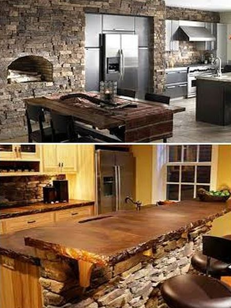 декоративный камень и стили интерьера кухни