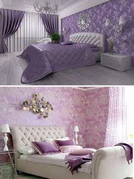 фиолетовый цвет в интерьере спальни
