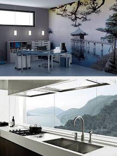 фотообои в дизайне интерьера кухни