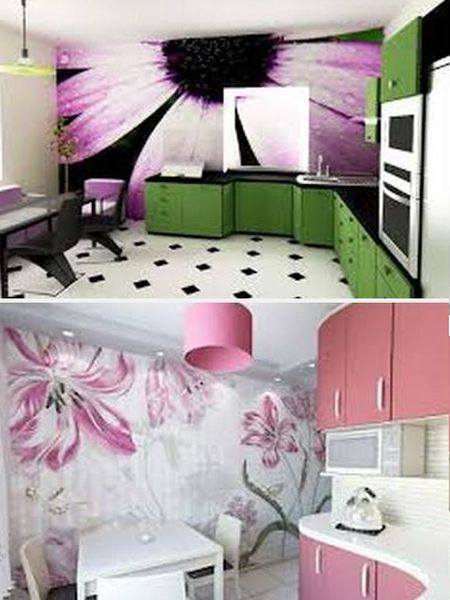 декор стен кухни фотообоями