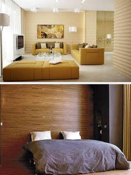 декор стен деревянными обоями