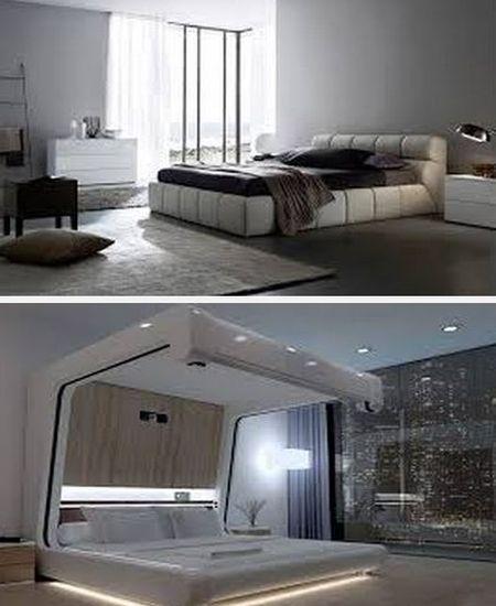хай тек в интерьере спальни