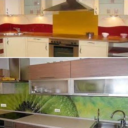 панели из стекла в интерьере кухни