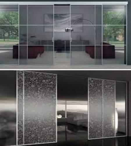 двери раздвижные из закаленного стекла