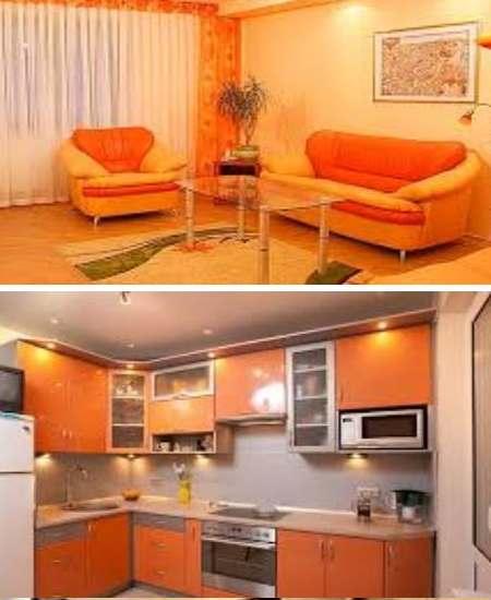 применение оранжевого цвета в интерьере