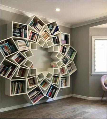 необычные книжные полки на стену